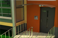 Apartment block staircase and entrance visualization